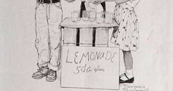 Lemonade Stand, an ad for Massachusetts Mutual Life Insurance Company, 1956 10¼ x 13½ inches by Norman Rockwell (1894-1978)