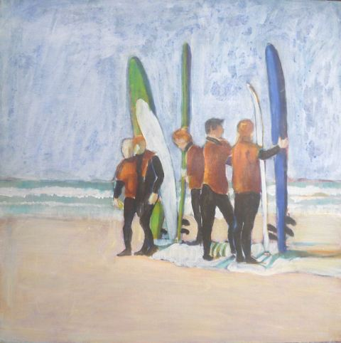acrylic painting ideas, painting a seascape with surfers
