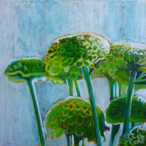 Green Chrysantemums , mixed media on canvas, 24 x 24 inches