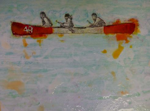 And here is a close-up of one of the canoes.