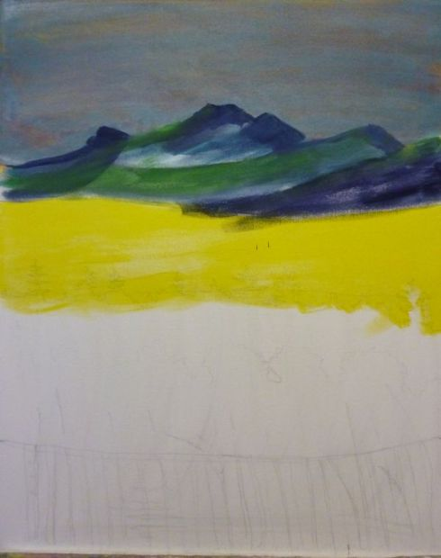 layering colors for the sky and working on the mountains