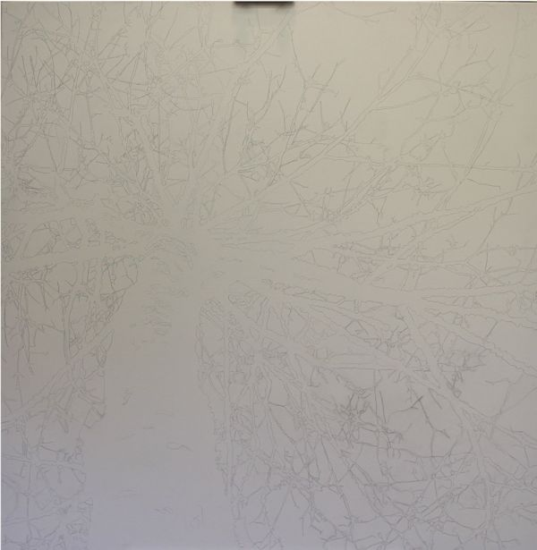 I start by drawing the tree on canvas with pencil.