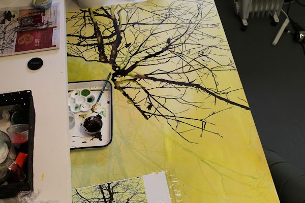 painting with ink and liquid acrylic