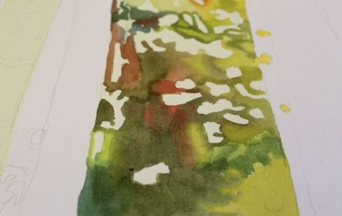 painting leaves wet on wet
