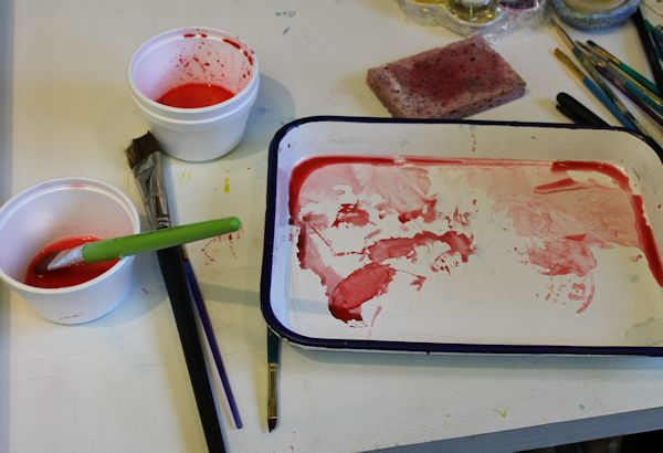 red layer of watercolor