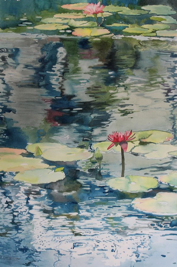 Lilly pads watercolor on paper