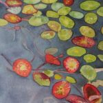 Lily pads on One Mile Lake Watercolor on paper mounted on board 12 x 36 inches