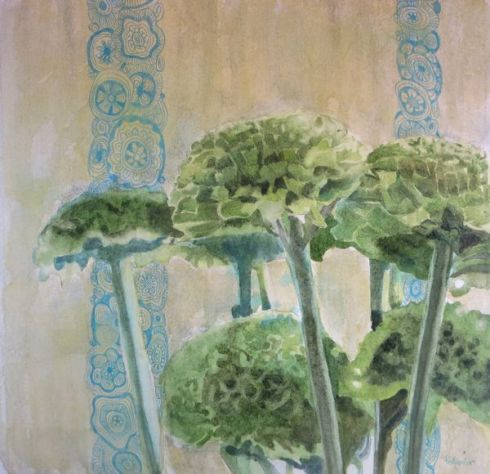 Green Mums 2New version;Watercolor and mixed media on paper