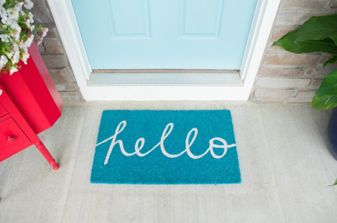New welcome mat and adding house numbers as part of the 5 week Curb Appeal Challenge.