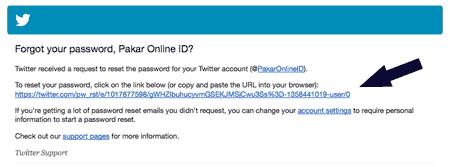 Klik pada link yang ada pada email dari twitter