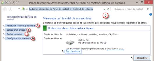 Historial de archivos - Configuración