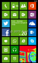 Mi pantalla de Windows Phone