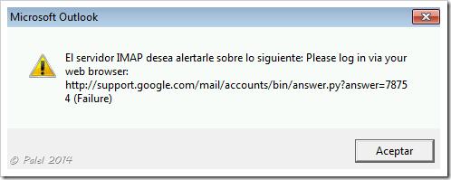 Error de sincronización de Gmail en Outlook