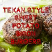 Paleo recipe Texan Style Sweet Potato and Bison Burgers beef grass fed-min