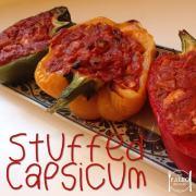 Stuffed Capsicum paleo diet recipe bell peppers dinner lunch chicken-min