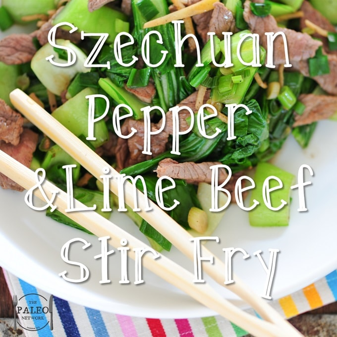 Szechuan Pepper and Lime Beef Stir Fry with Steamed Pak Choi paleo diet recipe lunch dinner-min