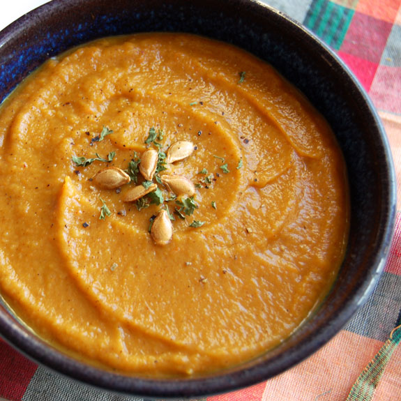 Paleo Roasted Acorn, Butternut, and Apple Soup