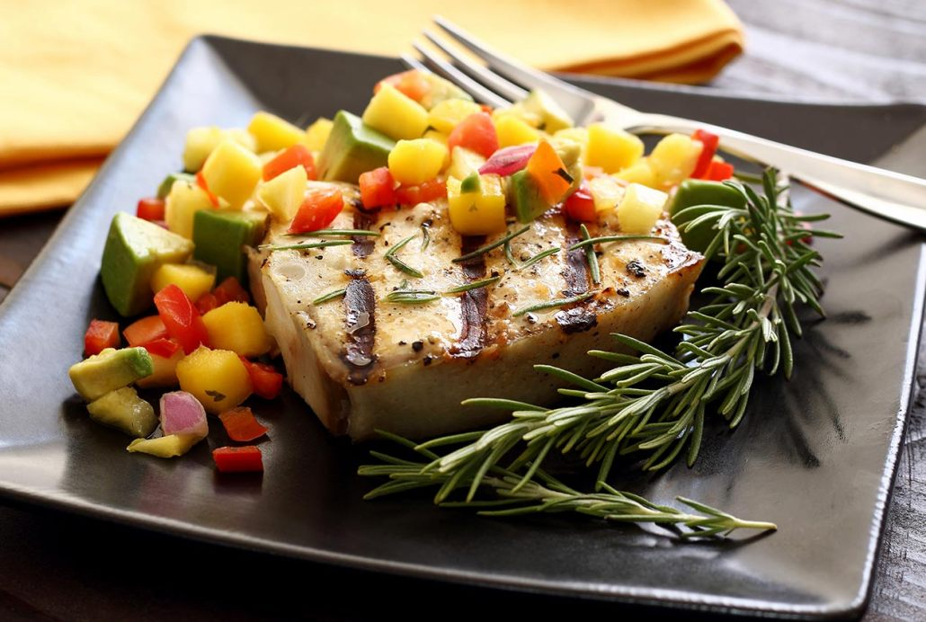Grilled halibut steak with mango pineapple avocado salsa for Pineapple sauce for fish