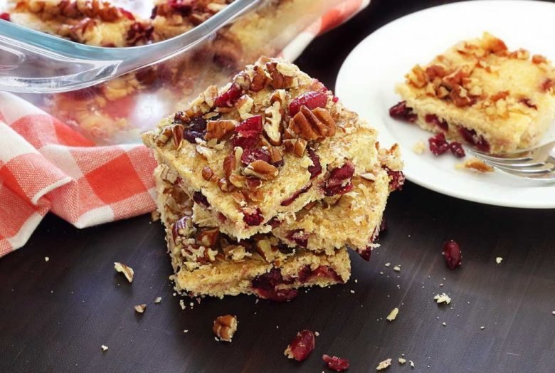 Paleo Coconut-Cranberry Bars with Pecans