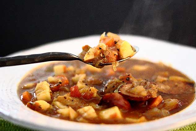 simple paleo recipe for delicious cabbage and sausage soup
