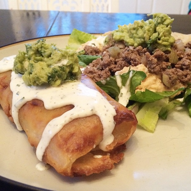 Paleo Chicken Chimichangas with Green Sauce