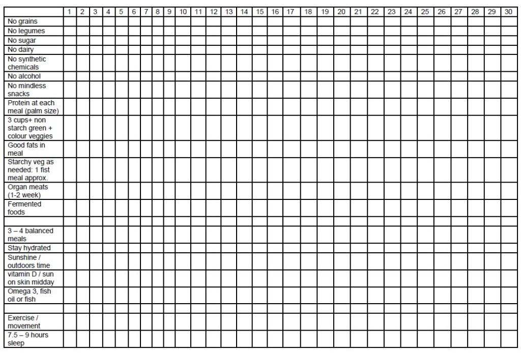 paleo challenge checklist