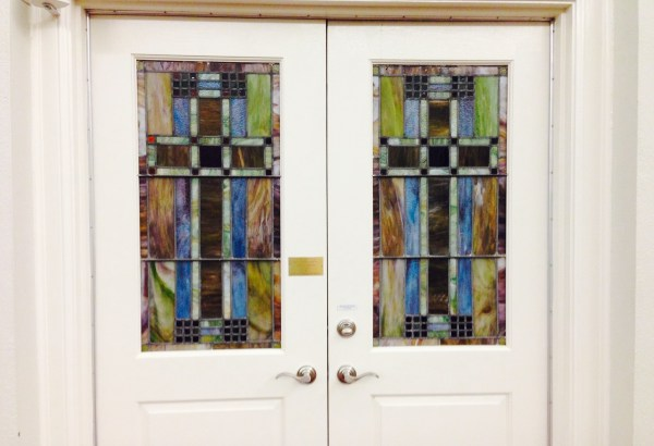 Stained Glass Cross Doors