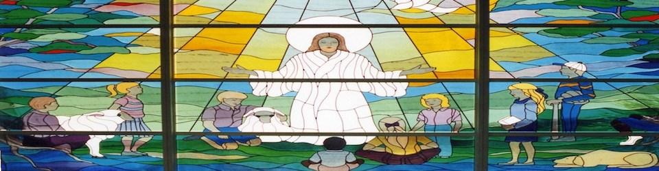 church-window Jesus and children 960x250