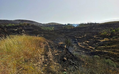 The charred landscape runs between the two villages serving as a cruel reminder of their neighbour's intentions (photo: ISM)