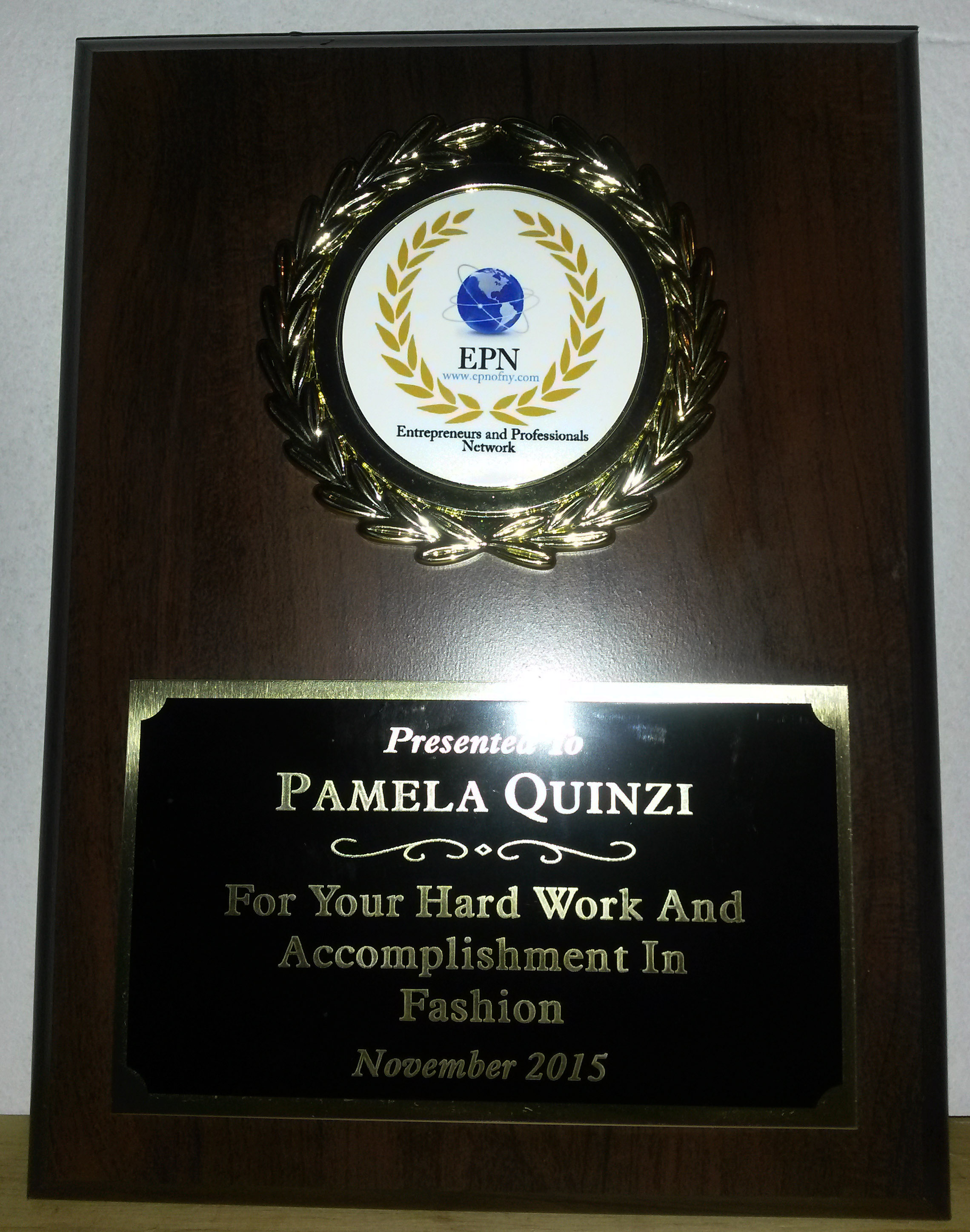 awards pamela quinzi 2015 award from epn entrepreneurs and professional network for the hard work and accomplishment in