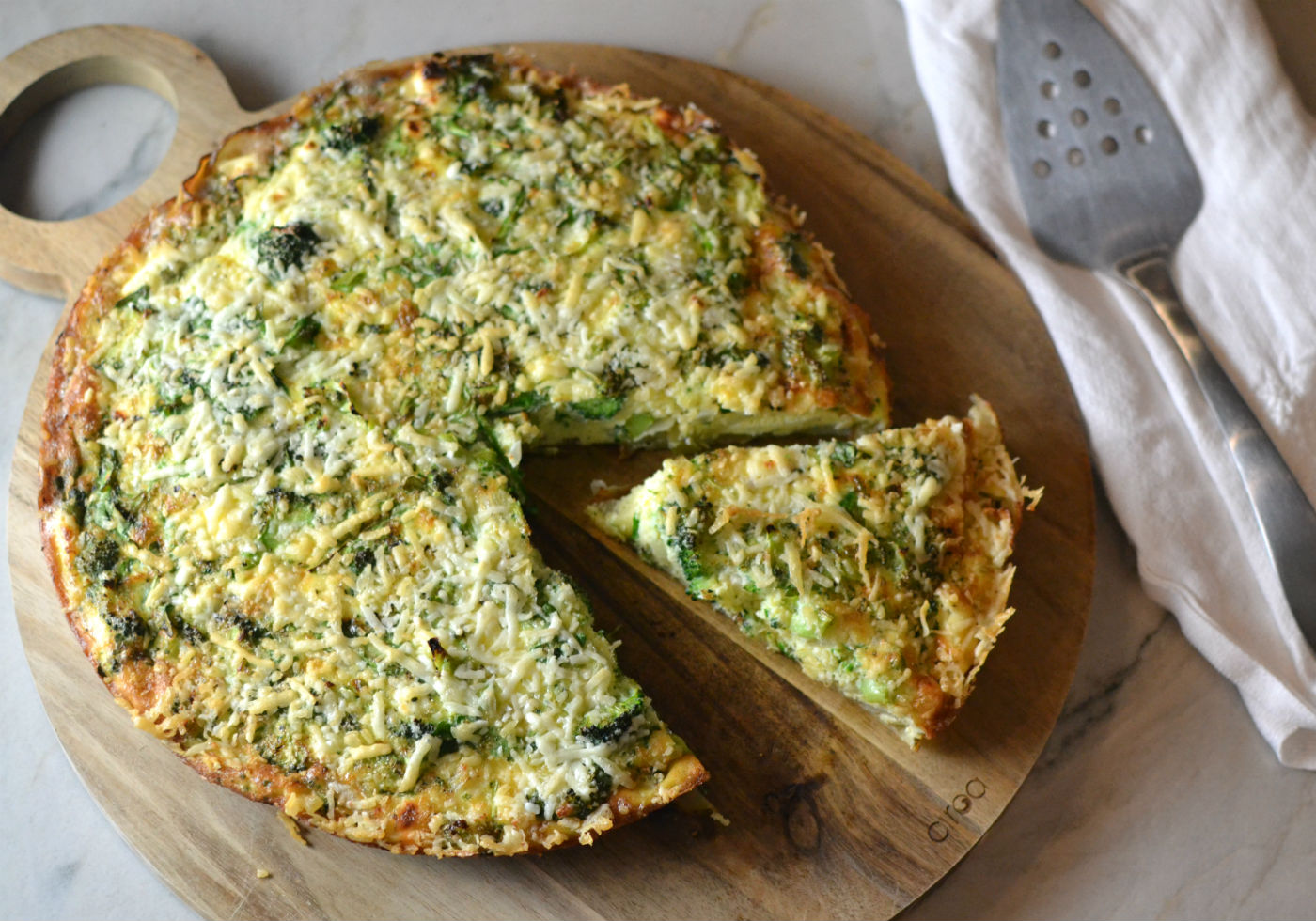Broccolini Frittata with Crispy Potato Crust