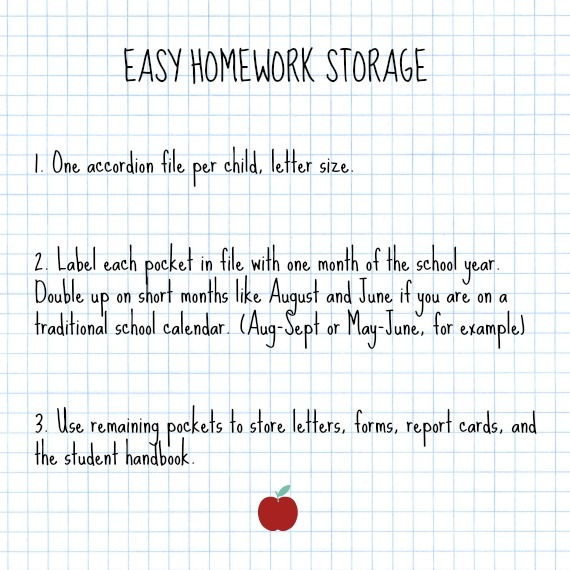 One way to store classwork, homework, and other school paperwork throughout the year.