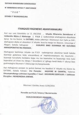 Itangazo ryatanzwe na Perezida wa PSD mu ntara y'i Burasirazuba