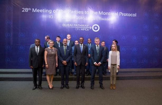 Perezida Paul Kagame yitabiriye inama mpuzamahanga ya 28 y'ibihugu byasinye amasezerano ya Montréal yo kurengera ikirere. (Photo/Urugwiro)