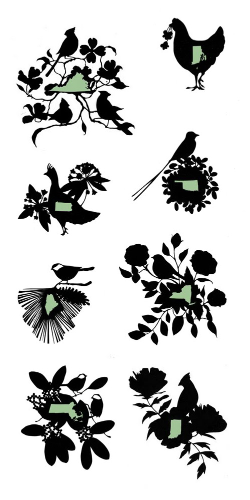 Papercut State Birds and State Flowers by Cindy Ferguson