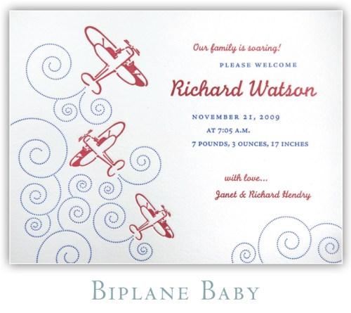 Biplane Baby Letterpress Birth Announcement