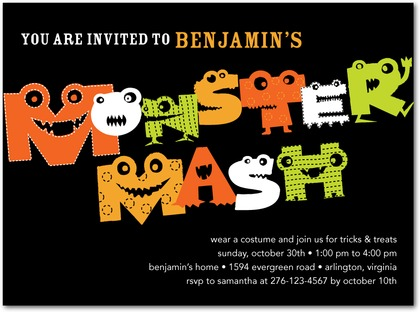 Monster Bash Halloween Party Invitations