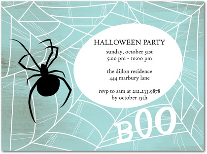 Halloween Party Invites Spider Web