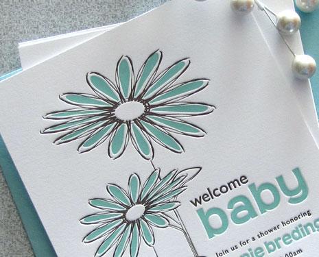 Sweet Harvey Custom Letterpress Baby Shower Invites