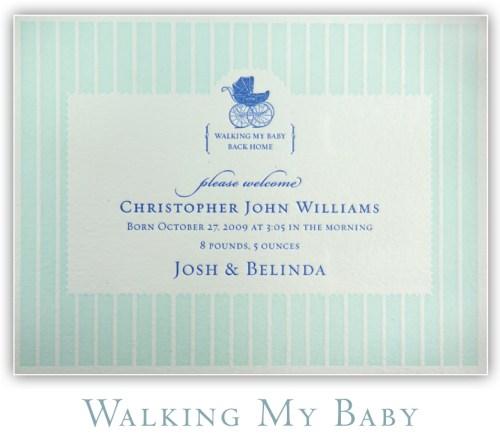 Walking My Baby Letterpress Birth Announcement