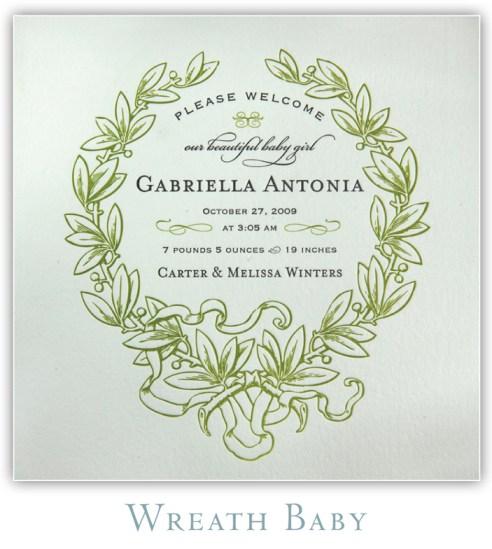 Wreath Baby Letterpress Birth Announcement