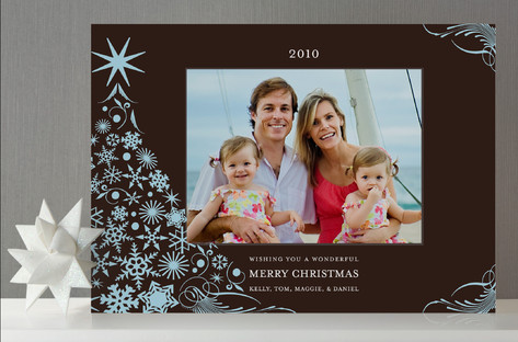 Snowflake Tree Holiday Photo Cards