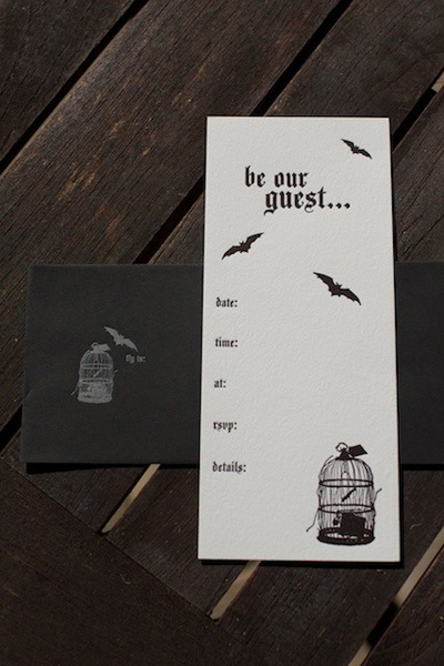 Letterpress Fill In Halloween Party Invitations