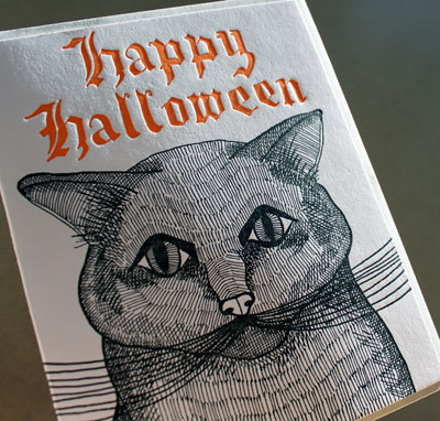 Sycamore Street Black Cat Letterpress Card