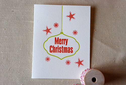 Cartoules Letterpress Merry Christmas Card