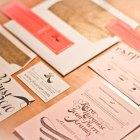 Pink Gold Letterpress Wedding Invitations