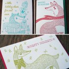 Animal Letterpress Holiday Cards Paper Parasol