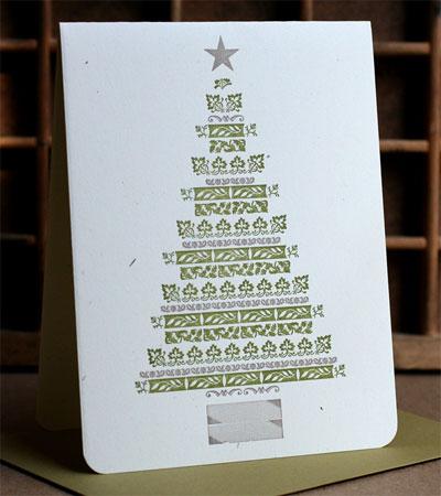 Ornament Letterpress Tree Card
