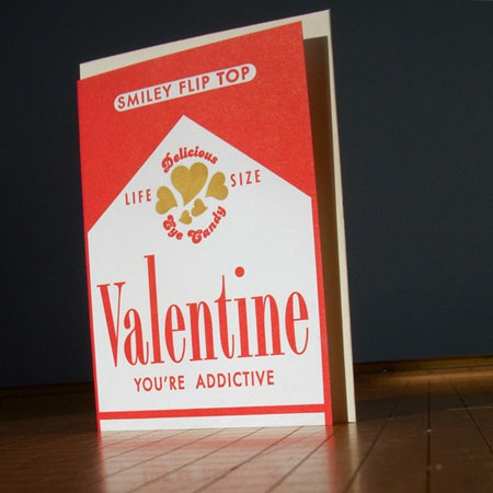 Letterpress Valentines Candy Smokes Card