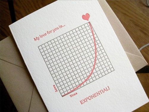 Exponential Love Note Letterpress Card